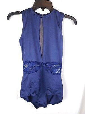 Blue Lace Cutout Leotard Ballet Dance Costume - Women's AL