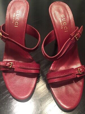Gucci Authentic Women Shoes Leather 7B Burgandy Open Toe 4inch