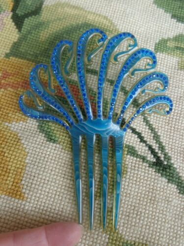 VINTAGE ART DECO BLUE RHINESTONE MARBLE PEARLIZED CELLULOID MANTILLA HAIR COMB