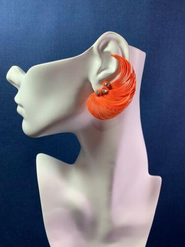 Vintage MCM Clip On Ear Climber Earrings Plastic Orange Feathers Rhinestones