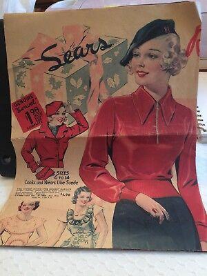 Antique Newspaper Sears And Roebuck Advertisement Flyer Sales Circular ()