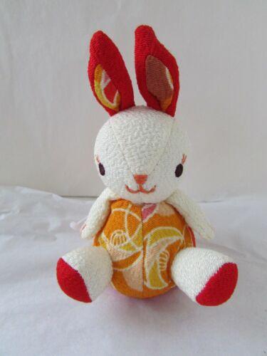 Chinese New Year Bunny Rabbit Fabric Stuffed Keychain Purse Charm Floral Bunny