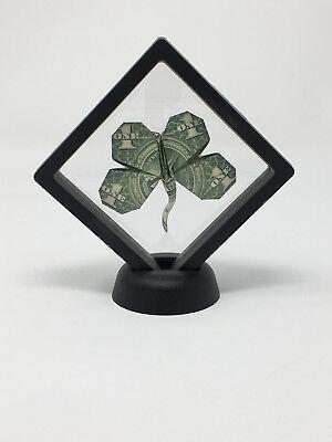 Money Origami $1 Four Leaf Clover Displayed in magic floating frame
