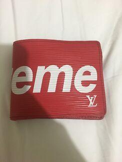 Red Louis Vuitton Supreme wallet