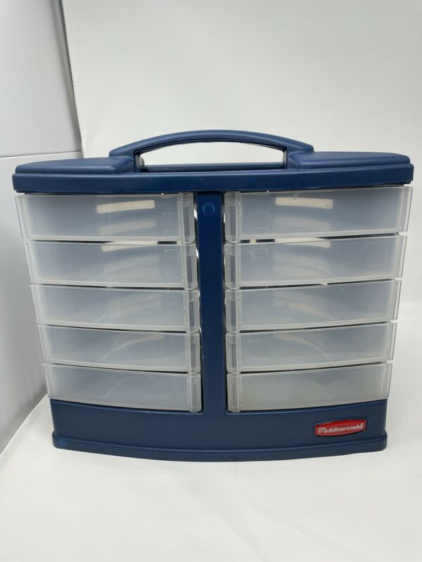 Rubbermaid Vtg Blue Storage Craftainer Craft Sewing Tool Box 10 Swivel Drawers