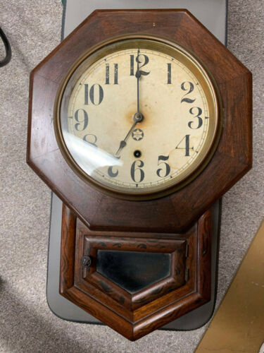 New Haven 1800s Small School Clock USA. Rare