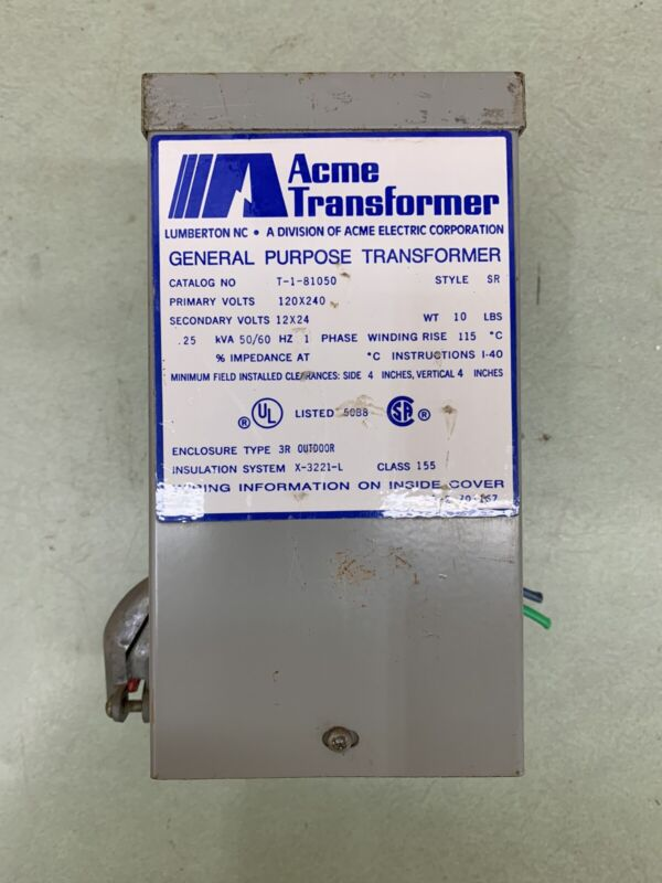 ACME TRANSFORMER 120X240V STYLE SR TRANSFORMER T-1-81050