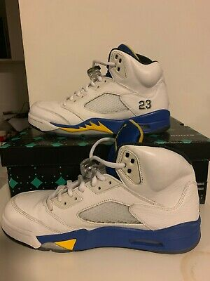 Air Jordan Retro Laney 5 2013 Size 8.5 Pre Owned Leather White blue