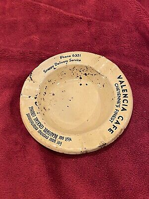 Vintage Advertising Metal Ashtray, Valencia Cafe in Cheyenne, WY. Phone 6321.
