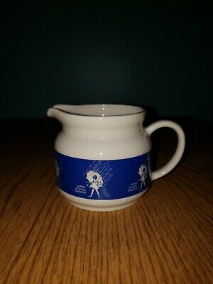 VINTAGE 60s MORTON SALT SMALL PITCHER UMBRELLA GIRL BLUE / CREAM POTTERY  3x31/2