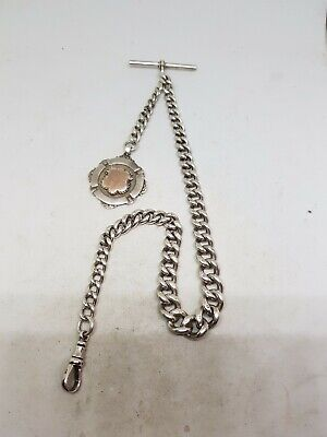 Chunky Antique Solid silver Albert chain For pocket Watch C1900 Ref1367