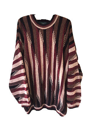 Vintage Tundra Canada Beige Brown Brick Red Hip Hop Textured Sweater Mens Large