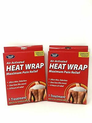 Family Care Air-Activated Heat Wrap Maximum Pain Relief 2 pk for Neck & Shoulder