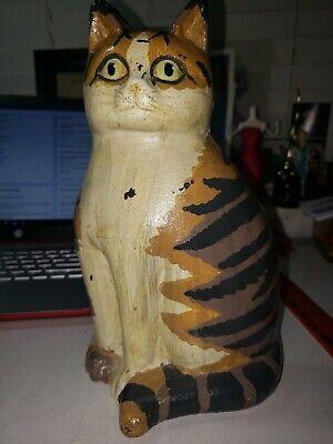 Heavy Cast Iron Painted Cat Door Stop Decorative Tiger Striped