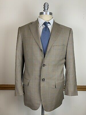 ISAIA NAPOLI 120's WOOL BROWN CREAM HOUNDSTOOTH BLUE OVERCHECK LUXURY BLAZER 40R