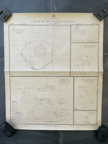 Original Nautical Chart Map Navy Pacific Atolls Marshall Islands 1944 Decor WWII