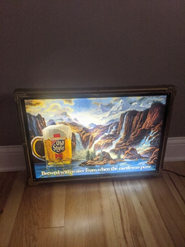 READ DESCRIPTION VINTAGE HEILEMANS OLD STYLE BEER WATERFALL MOTION LIGHTED SIGN