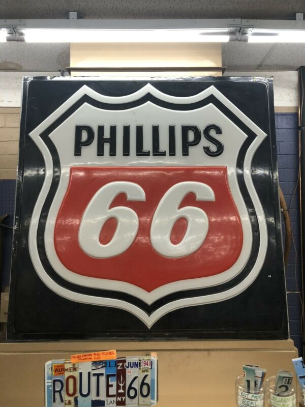 Huge Vintage Authentic Phillips 66 Gas Oil Advertising Sign Light Up Phoenix