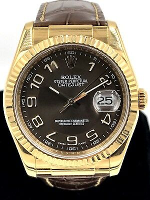 Rolex Datejust 116138 18kt Yellow Gold Watch Brown Dial & Stap B&P MSRP $18,700!