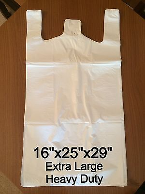 250x Extra Large Heavy Duty Vest Carrier Bags (16