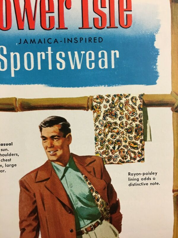 1952 Men's Fashion Tower Isle Sportwear Jamaica Inspired Vintage Clothing Ad