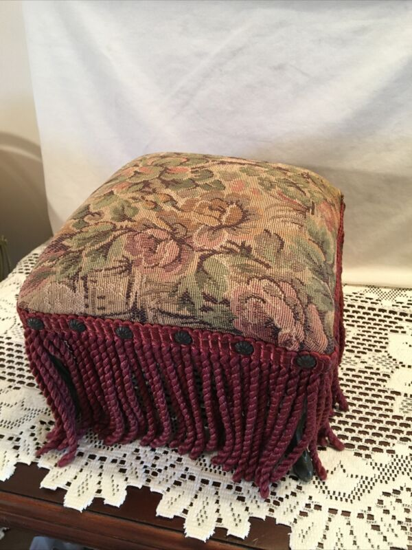 Vintage Victorian Foot Stool Square with Iron legs  Padded top and Fringe