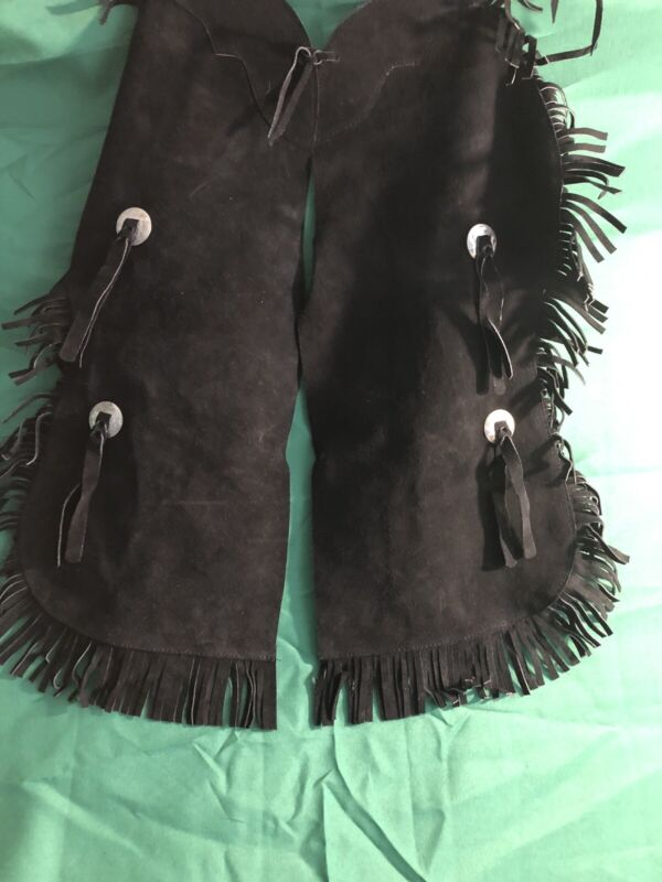 Vintage western black suede fringed chaps with silver conchos, Child size large