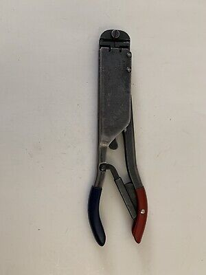 Amp Tyco 59250 Red And Blue T Head Ratchet Crimp Crimper Crimping Tool Clean