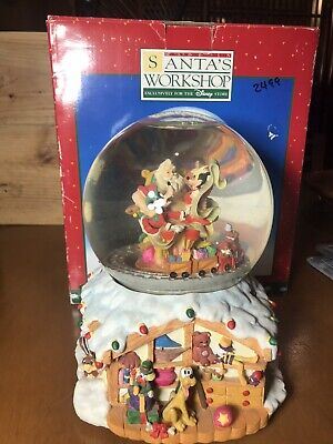 Santa's Workshop Disney Snow Globe Spinning Train Musical Goofy Mickey Donald
