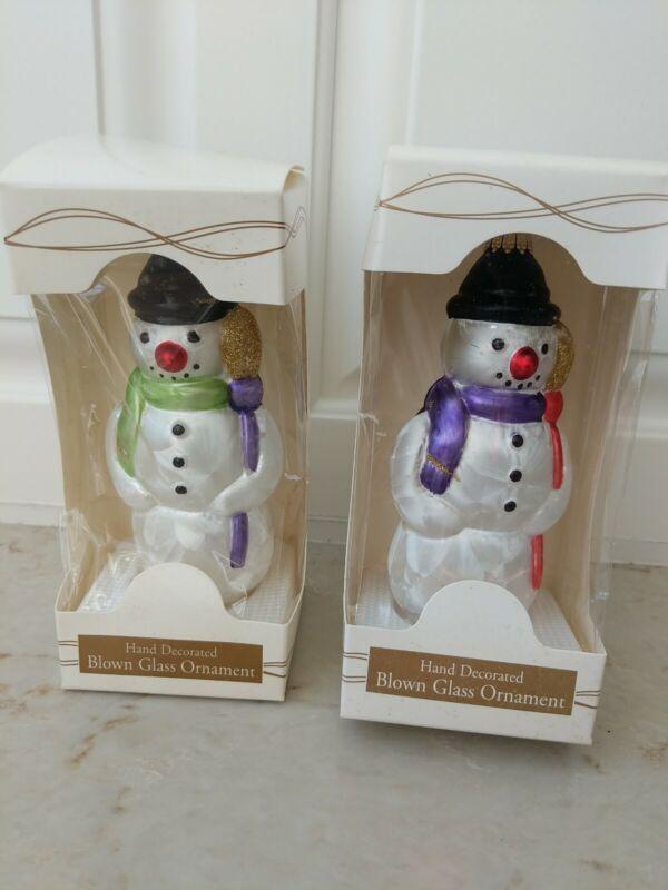 Krebs Lauscha Glass Christmas ornaments Snowmen Snowman ca. 1997
