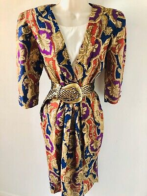 Gold Red Puff Sleeve Versace Style Print Cocktail Dress size 10