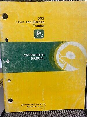 John Deere 332 Lawn Garden Tractor Operators Manual Omm71799 D-2