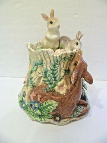 FITZ & FLOYDS WOODLAND SPRING Rabbit Deer Cookie Jar Canister Bunny Centerpiece