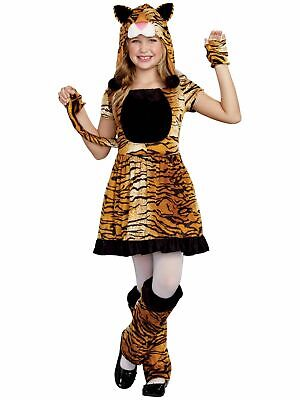 Tennis Girl Costume (Girls Orange Tenny Tiger Velour Textured Halloween Dress Costume Medium)