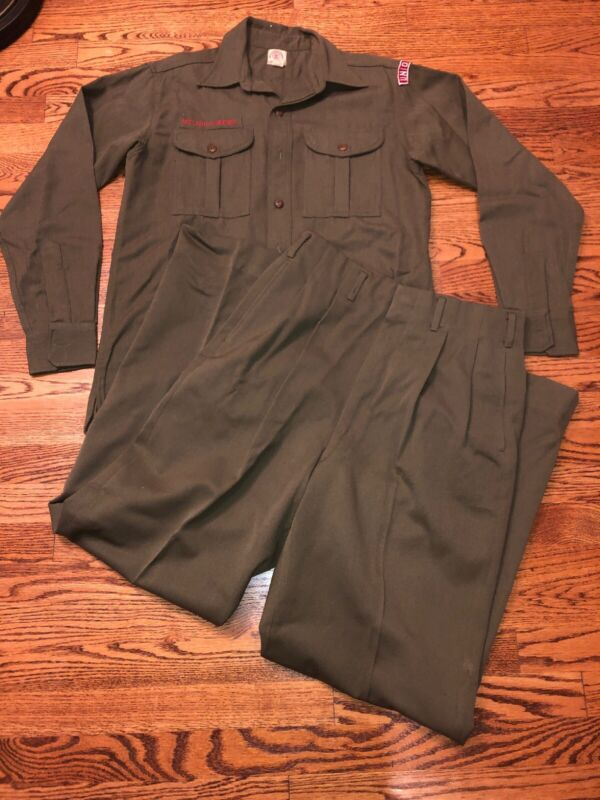 Vintage BSA Boy Scouts of America Wool Uniform Shirt/Pants Set ~Olive Drab~