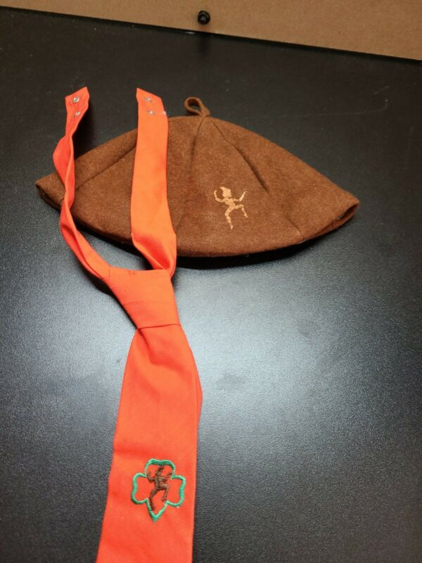 Lot Vintage Girl Scouts Brownies Hat and Tie