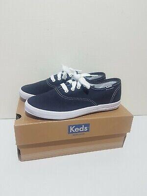 Girls Boys Keds Classic Navy Blue Lace Up Canvas Shoes Size UK 1 EUR 33