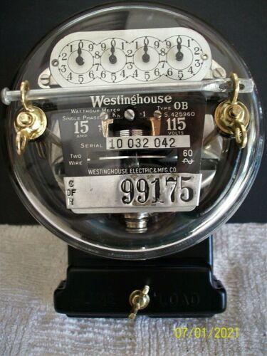 Vintage/Antique 1928 Westinghouse OB Meter, 15a, 115