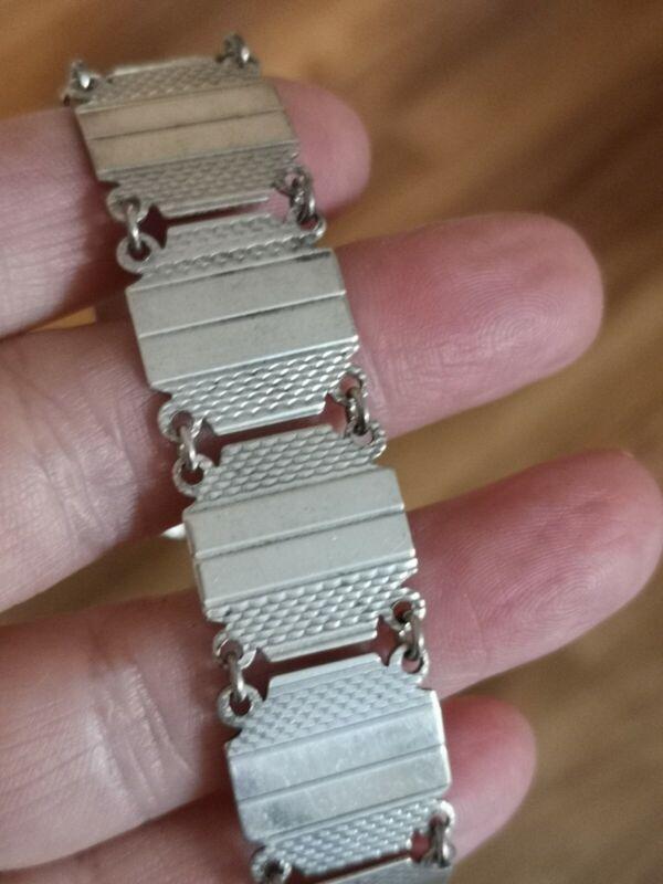 Art Deco Era  Sterling Silver Engine Turned Panel  Bracelet