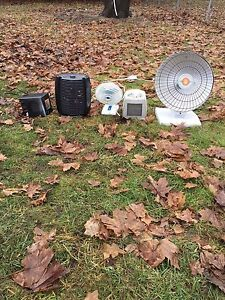 4 mini heaters and one mini fan