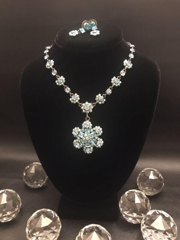 Designer Signed SNK  Necklace & Earring Set- Swarovski Crystals