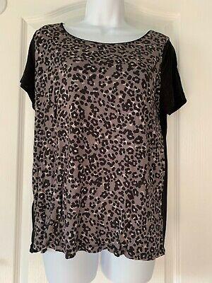 Ann Taylor Loft Animal Print Top Blouse Shirt Size XL Black Leopard