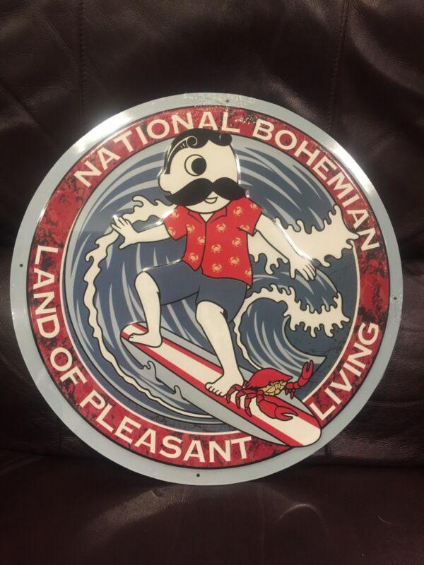 National Bohemian Beer Mr Natty Boh Surfing Metal Tin Sign Ocean City Maryland