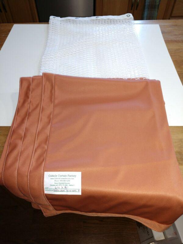 "Anti-Microbial Hospital Cubicle Curtains: 64""W X 81""L orange/ brown"