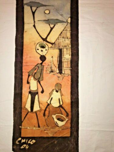 African Abstract Art Wall Decor BATIK - deep rich colors- Original Signed