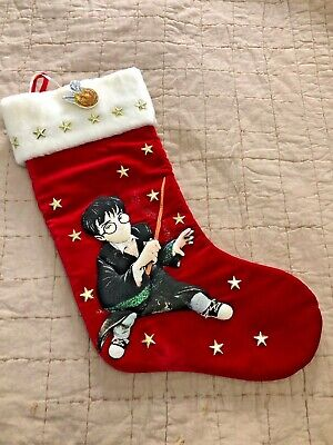 "Vintage 2000 Harry Potter 18"" Christmas Stocking Kurt Adler Velvet with Snitch"