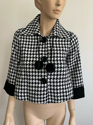 VINTAGE PUMPKIN BLACK WHITE HOUNDSTOOTH WOOL JACKIE O BUTTON COAT JACKET SIZE S