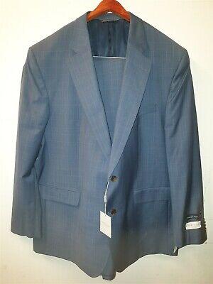 NEW Jack Victor Mens Wool Blue Plaid Suit Jacket 50L & Trousers 45L RRP £1240