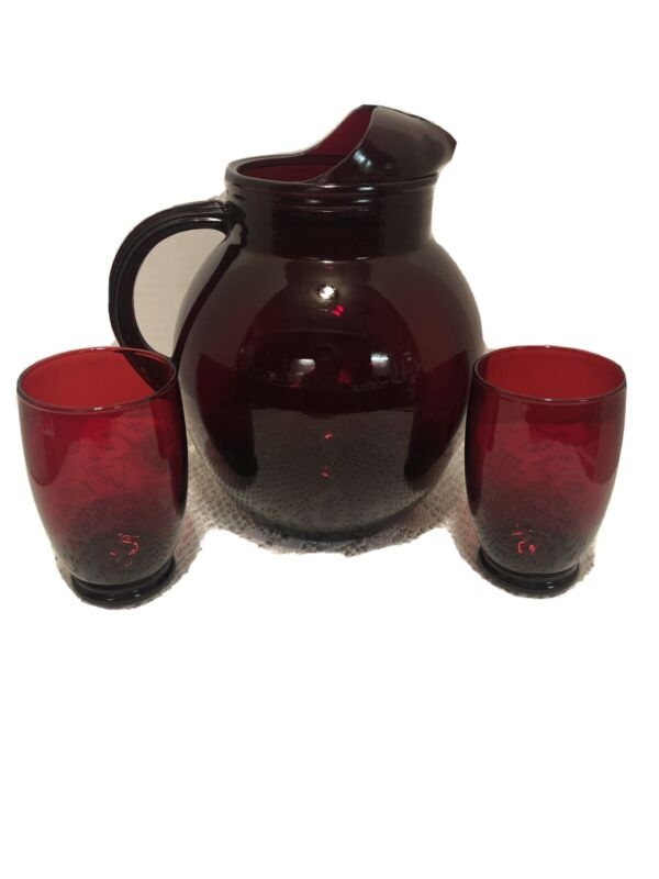 Ruby Red Pitcher W/ Ice Lip And 2 12oz Glasses