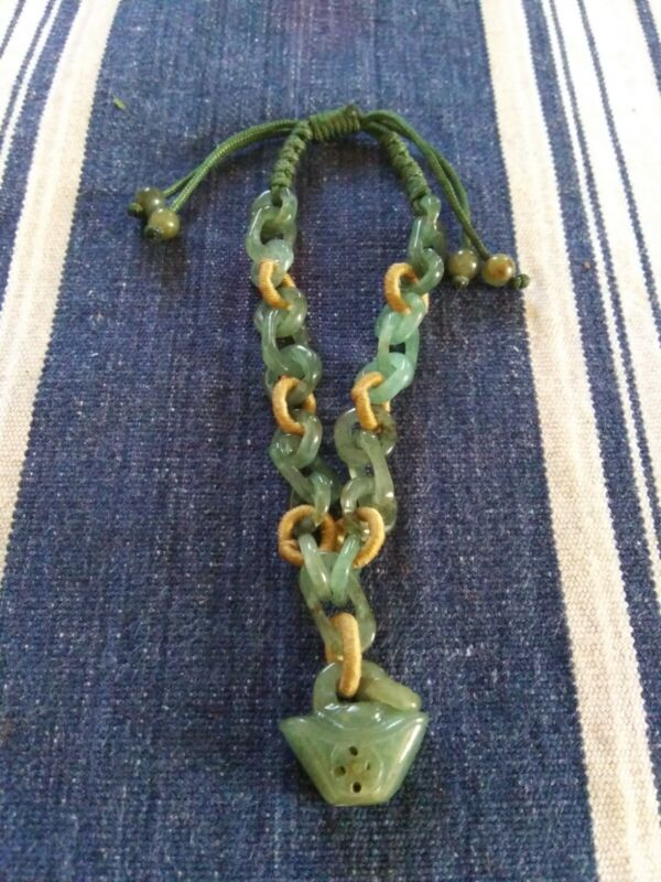 "Rare ""Hand Carved Links"" Chinese Jade Stone Bracelet - Very Unusual !"